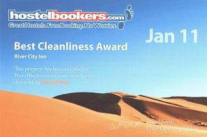 Hostel Bookers Best Cleanliness Award Jan 2011